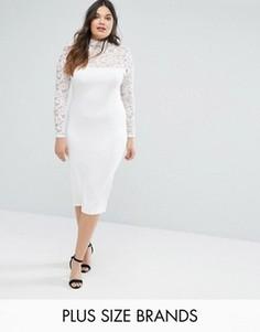 Кружевное платье миди Missguided Plus - Белый