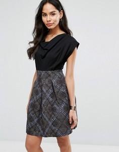 Короткое приталенное жаккардовое платье Closet London - Мульти