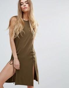 Трикотажное платье на шнуровке First & I - Зеленый