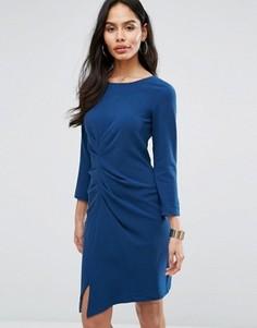 Платье-футляр со сборками и рукавами 3/4 Closet London - Темно-синий