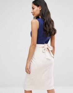 Платье с запахом в стиле колор блок с поясом Closet London - Мульти