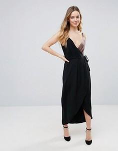 Платье макси с запахом и бархатной вставкой Neon Rose - Черный