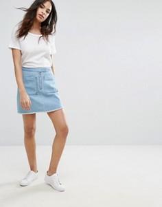 Джинсовая мини-юбка с накладными карманами Vero Moda - Синий