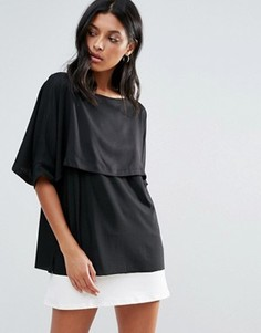 Двухслойная футболка Liquorish - Черный