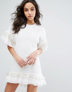 Кружевное платье-футболка Stevie May Huxley - Белый