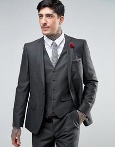 Узкий саржевый пиджак Harry Brown - Серый