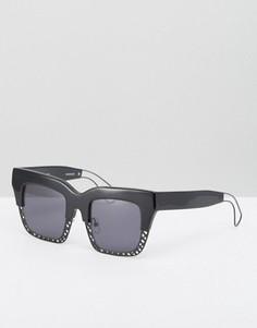 Квадратные солнцезащитные очки с полуоправой House of Holland - Черный