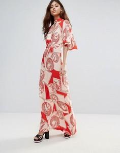 Платье макси с рукавами кимоно и принтом в винтажном стиле Liquorish - Красный