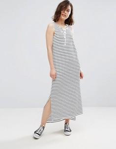 Платье макси в полоску со шнуровкой Brave Soul - Белый