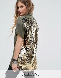Рубашка в стиле милитари с короткими рукавами и пайетками на спине Reclaimed Vintage Revived - Зеленый