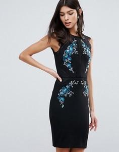 Платье-футляр с цветочной вышивкой и кружевной отделкой Lipsy - Черный