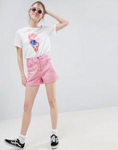 Розовые джинсовые шорты в винтажном стиле с эффектом кислотной стирки ASOS - Розовый