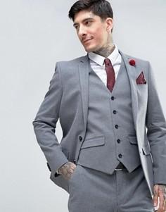 Узкий фланелевый пиджак Harry Brown - Серый