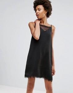 Платье с кружевной вставкой Ichi - Черный