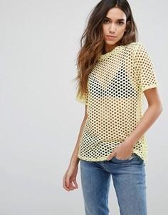 Сетчатая футболка бойфренда New Look - Желтый
