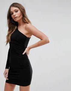 Платье мини на одно плечо Club L - Черный