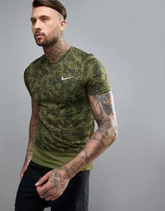 Зеленая футболка Nike Running Breathe 852169-331 - Зеленый
