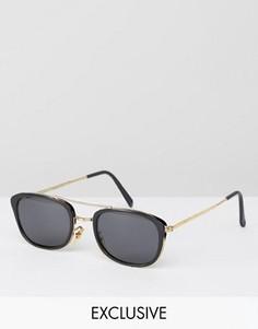 Черные квадратные солнцезащитные очки-авиаторы Reclaimed Vintage - Черный