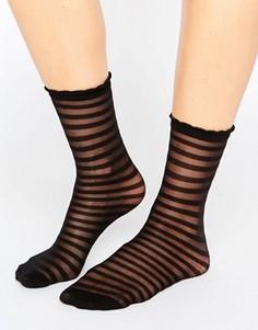 Сетчатые носки в полоску Monki - Черный