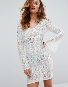 Пляжное платье из кроше с расклешенными рукавами Boohoo - Белый