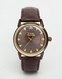 Часы с кожаным ремешком Vivienne Westwood Grosvenor II VV064GDBR - Коричневый