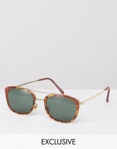 Квадратные солнцезащитные очки-авиаторы в черепаховой оправе Reclaimed Vintage - Коричневый