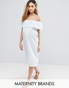 Платье в полоску со спущенными плечами Mama.licious - Мульти