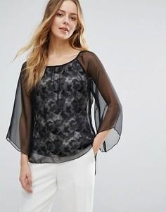 Блузка с расклешенными рукавами и принтом бабочек Jasmine - Черный