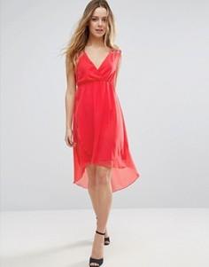 Платье с V-образным вырезом и удлиненным краем Jasmine - Оранжевый