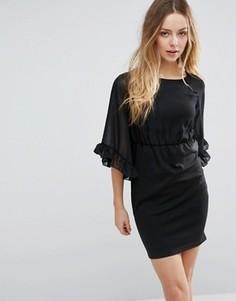 Платье-футляр с оборками на рукавах Jasmine - Черный