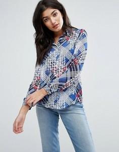 Рубашка с клетчатой вставкой Jasmine - Синий