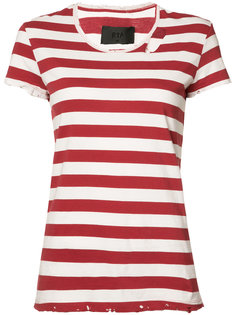striped distressed detail T-shirt Rta