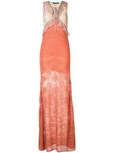 длинное кружевное платье Roberto Cavalli