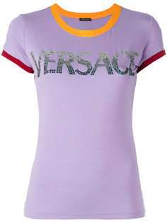 футболка с контрастными манжетами и логотипом Versace
