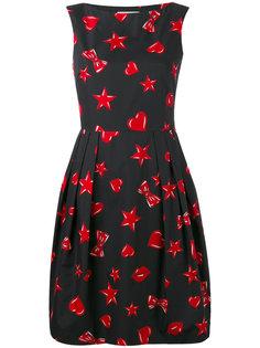платье с узором из сердец и звезд Moschino