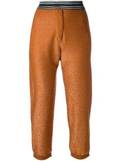 укороченные блестящие брюки Nude