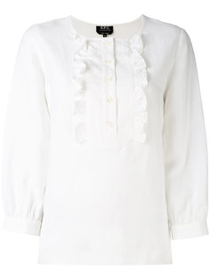 блузка с рюшами и рукавами три четверти A.P.C.