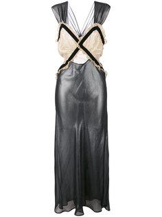 металлизированное платье длины миди Attico