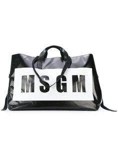 сумка-тоут с принтом-логотипом MSGM