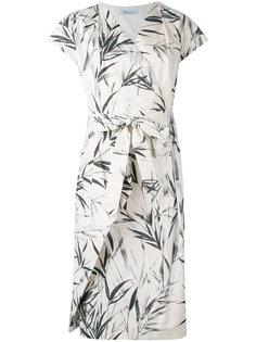 платье с запахом и рисунком из листьев Blumarine