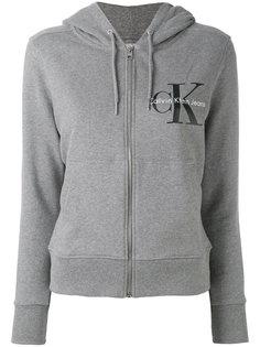 толстовка на молнии с капюшоном и логотипом Calvin Klein Jeans