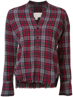 cropped frayed checked shirt Greg Lauren