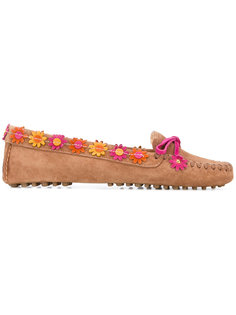 floral appliqué loafers Car Shoe