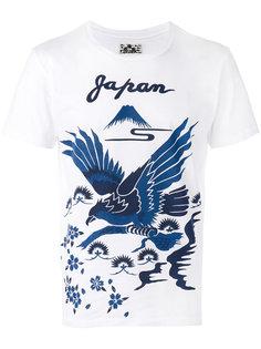 bird print T-shirt Blue Blue Japan
