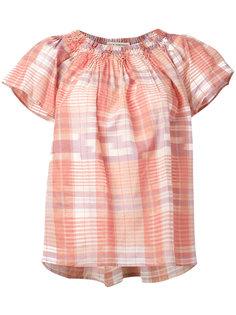 блузка в клетку с открытыми плечами Ulla Johnson