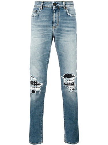 байкерские джинсы Saint Laurent