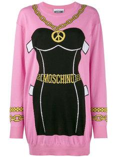 трикотажное платье с принтом бюстье Moschino
