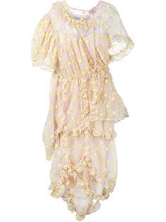 платье с цветочной вышивкой и рюшами Simone Rocha