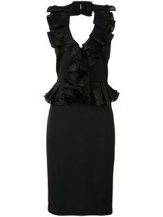 ruffled V-neck fitted dress Badgley Mischka
