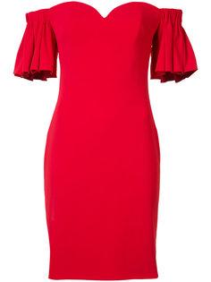 ruffled off-shoulders fitted dress Badgley Mischka